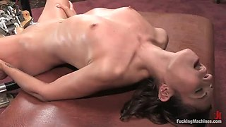 horny brunette cannot stop cumming with machines