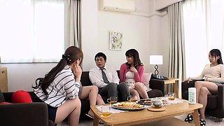 Asian schoolgirl enjoy group sex