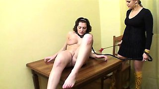 Naked training for busty slave girl