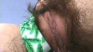 Hairy Girl Angelina Smith Big Bush Marijuana Leaf Bikini
