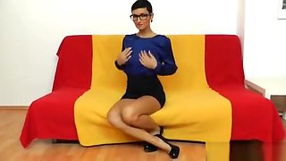 Shorthaired girl tights play