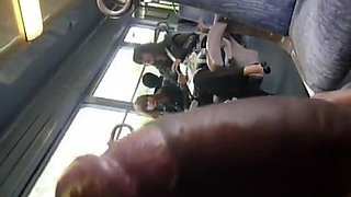Public cock flashing and masturbating at two girls on the train
