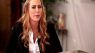 Lesbian Boss Chanell Heart Gets Pussy Eaten During Interview