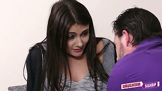Kinky step father seduced raven haired lovely chick and licked her kitty a lot