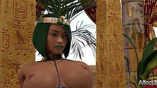 Ebony and blonde futanari babes entertaining the Egyptian princess