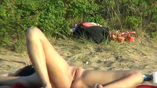 Nude Beach - Hot Brunette Spreads Wide