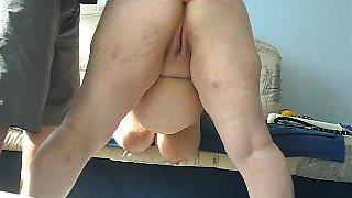 Mature BBW babe with big butt enjoys spanking