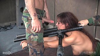 Busty submissive bombshell Syren De Mer forced to abuse herself