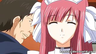 Horny guys seduce pretty anime babes