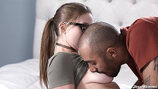 Nice lovemaking in the bedroom with attractive babe Laney Grey
