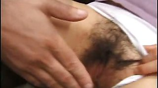 Hirsute Asian Pussy Covered with Jizz