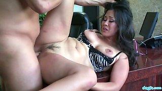 Gorgeous secretary with big boobs Jessica Bangkok seduces her bald headed boss