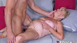 Horny grandma Malya eats cum after banging young stud