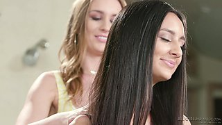 Gentle sex with pussy licking between Eliza Ibarra and Daisy Stone
