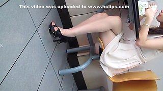 Chinese girl in white skirt voyeur part 1