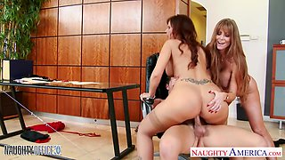Afternoon office sex with two bodacious matures Darla Crane and Syren De Mer