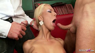 Two Skinny Blonde Twin Sister in Rough Anal DP Gangbang