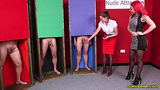 Naughty models Jesse Jayne and Roxi Kaeogh watch two dudes masturbate