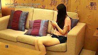 Hot chinese teen tastes the ruler the hard way