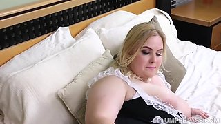 Plump blonde maid with big tits is very busy having anal sex while at work