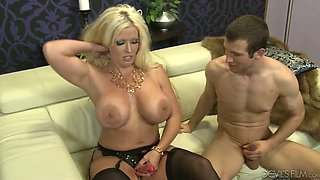 Thick PAWG Alura Jenson manhandles this young man on the couch