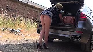 Big tit blonde Lady Sonia flashing in public