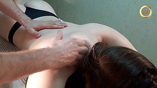 Giant basketball player girl gets full body massage. part 1