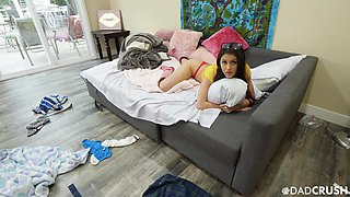 Lustful teen in thongs and bra Catalina Ossa seduces stepbrother