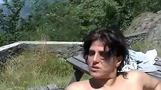 Unshaven mature Italian babes double fucked