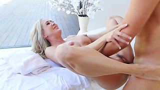 Masseur and blonde bombshell have amazing sex on terrace