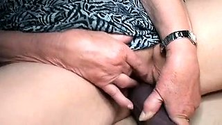 Slutty granny with big tits struggles with a huge black dick
