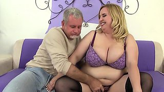 Big titted blond plumper gets naked and plays with her