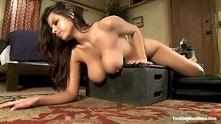 big tits babe's pussy meets machine