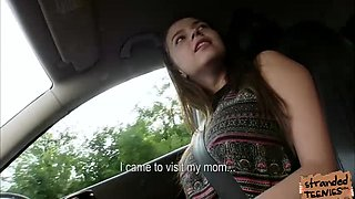 Large breasts Marina Visconti acquires gangbanged by driver as a fee for her ride