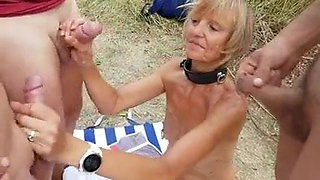 Old Married Collared Slut at the Beach