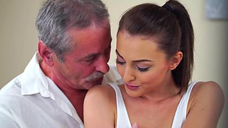 Old guy has hot sex with his young cute concubine