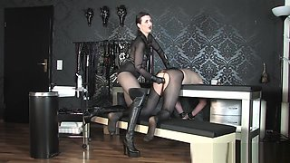 Mistress strapon sexy bodysuit Boots