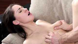 Sweet brunette gets vaginal creampie in art xxx porn