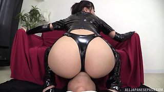 Fine ass Japanese damsel in a latext attire enjoys a refreshing rimjob in a close up shoot