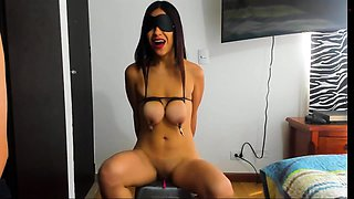 Gorgeous Asian babe with big tits learns a lesson in bondage
