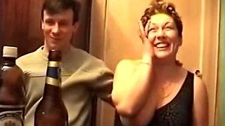 Drunk Russian woman showing tits